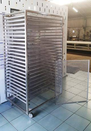 STAINLESS STEEL CASTOR TROLLEY WITH GRADE 316 BILTONG DRYING TRAYS